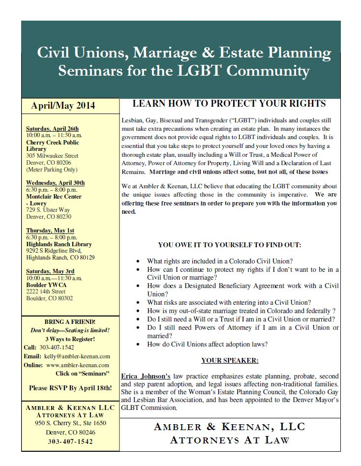 Upcoming Free Denver Seminars - Civil Unions, Marriage, and Estate Planning in Colorado